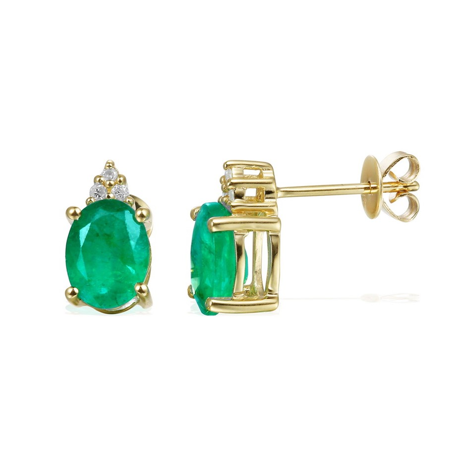 9ct yellow Gold. 2.38ct Emerald and Diamond Earrings