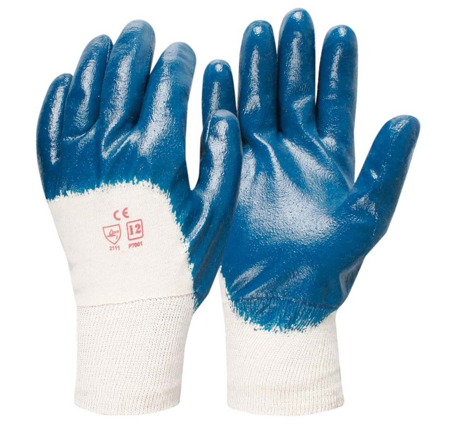 24 x Pairs Cotton Nitrile Dipped Gloves, Size M. Buyers Note - Discount Fre