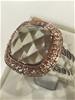 Lovely Green Amethyst Ring 18K Rose/White Gold Vermeil Size L 1/2  (6)