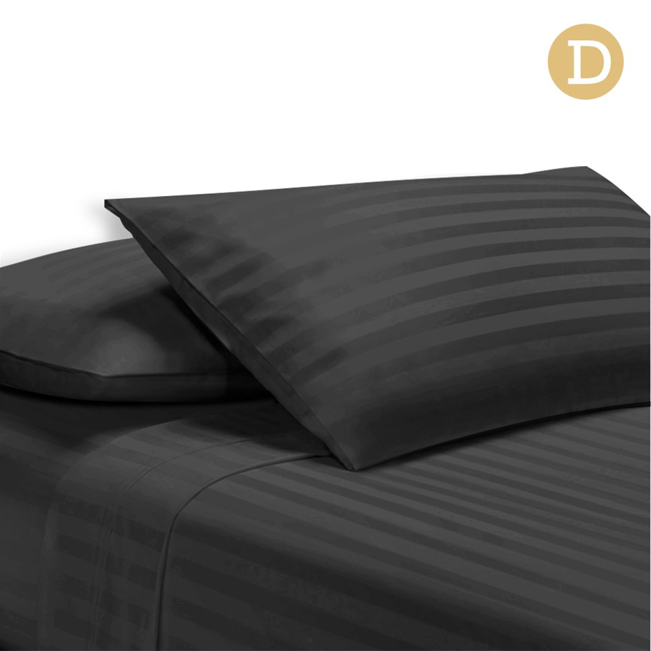 Giselle Bedding Double Size 4 Piece Bedsheet Set - Black