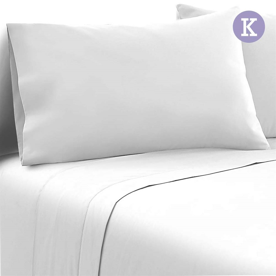 Giselle Bedding King Size 4 Piece Micro Fibre Sheet Set - White