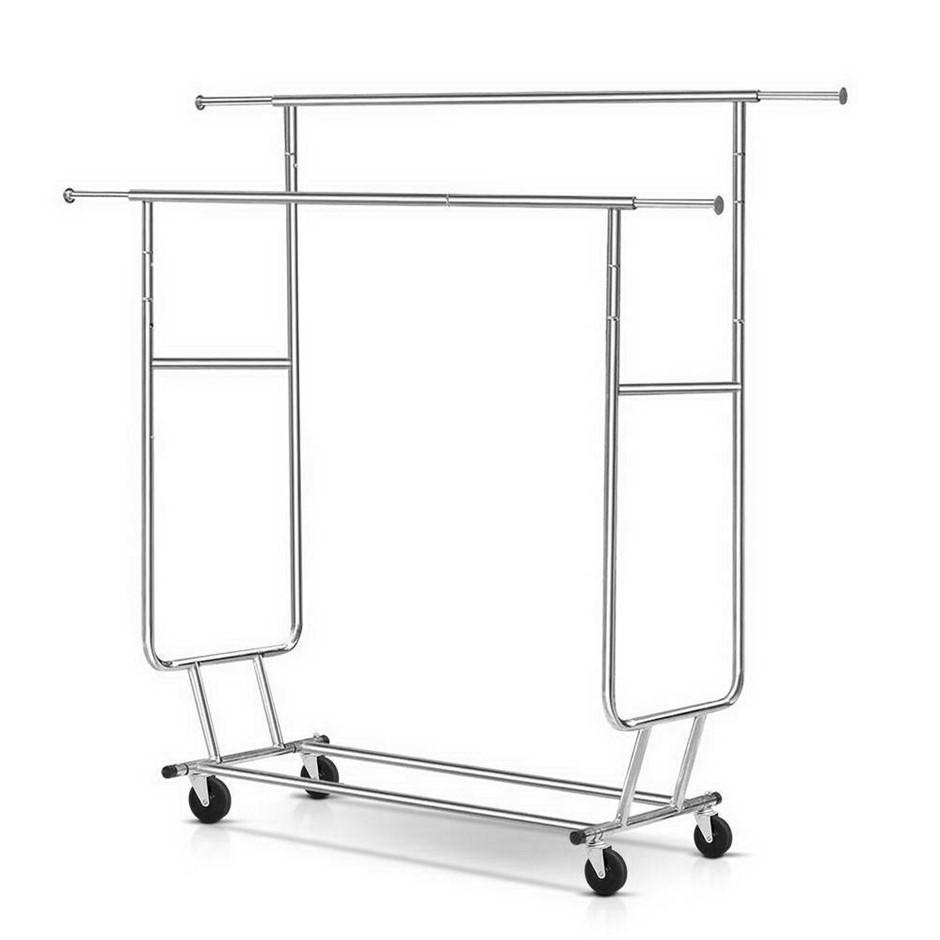 Artiss 6FT Garment Rack Double Rail Commercial Clothes Collapsible Hanger
