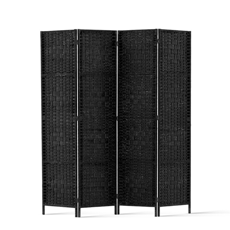 Artiss 4 Panel Room Divider Privacy Screen Rattan Frame Stand Woven Black