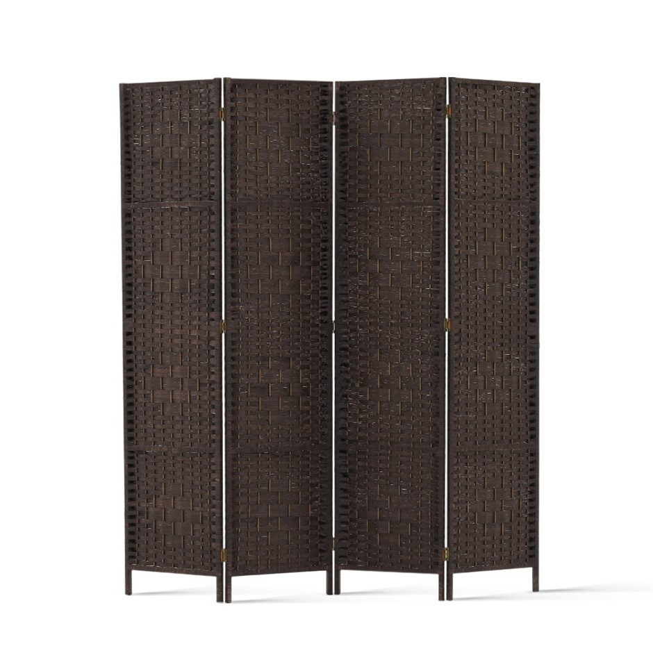 Artiss 4 Panel Room Divider Privacy Screen Rattan Frame Stand Woven Brown
