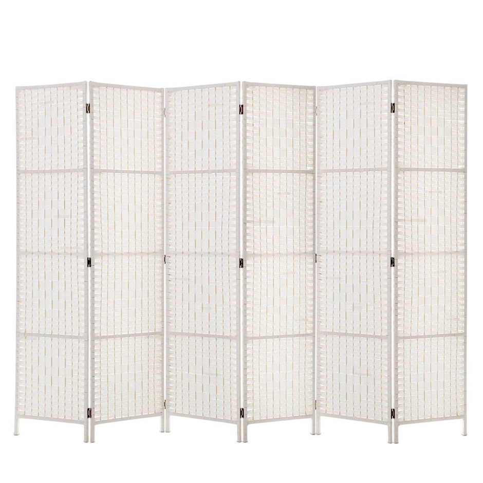 Artiss 6 Panel Room Divider Privacy Screen Rattan Timber Woven Stand White