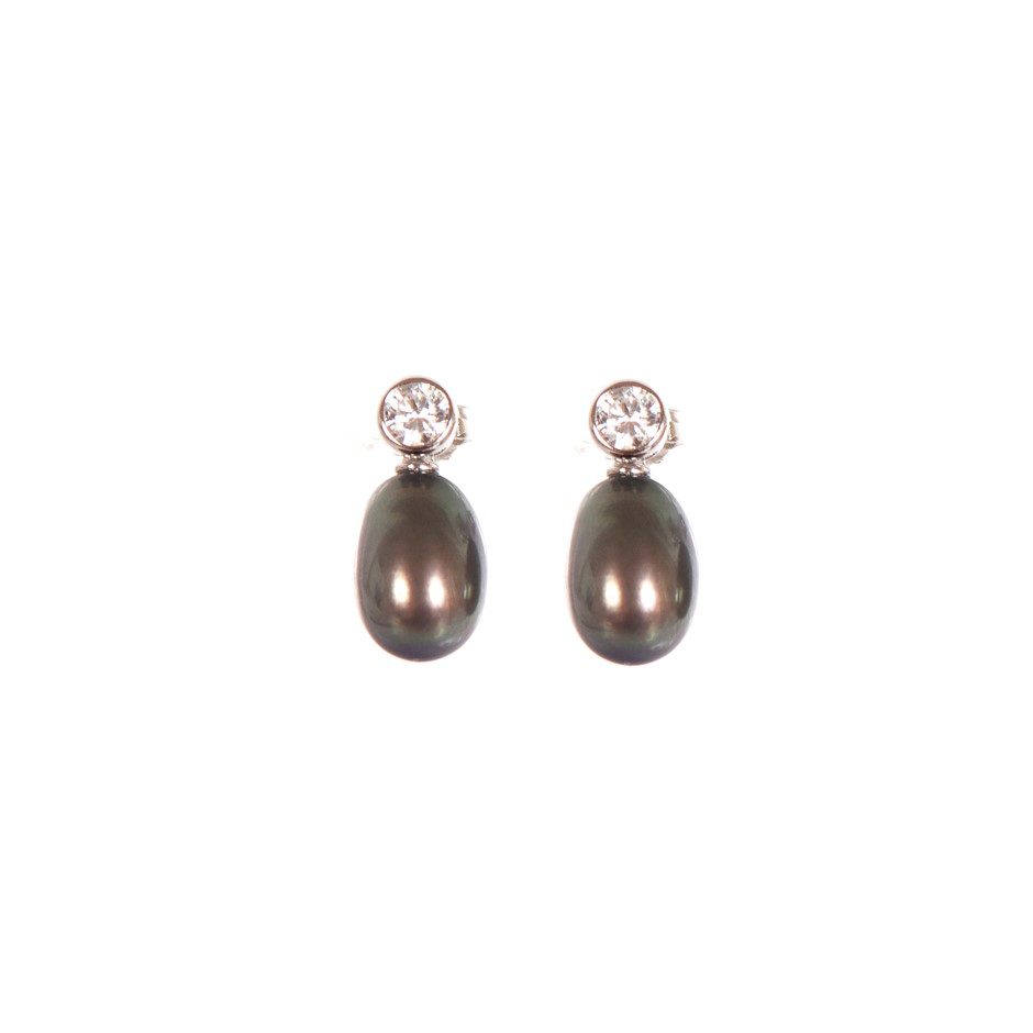 Sterling silver 925 dyed black freshwater pearl earrings
