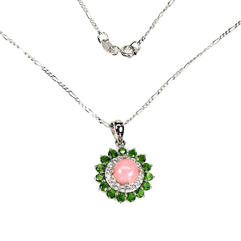 Beautiful Genuine Pink Opal & Chrome Diopside Pendant & Chain.
