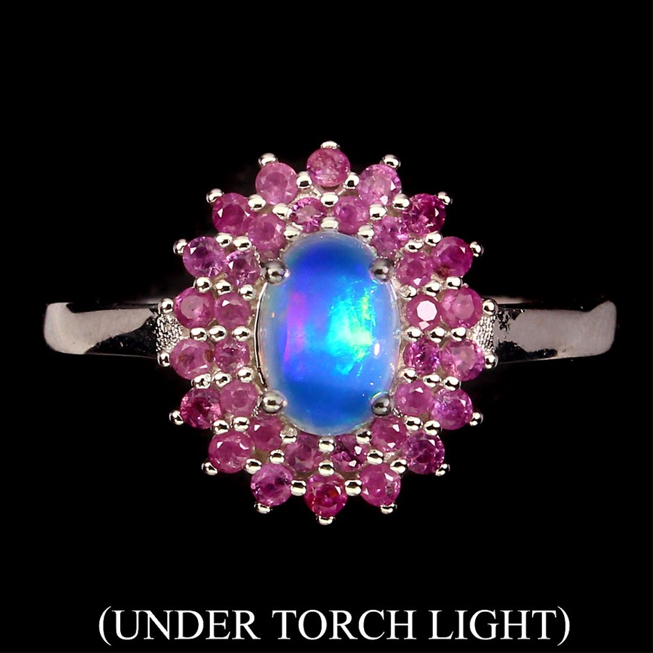 Striking Genuine Opal & Ruby Ring