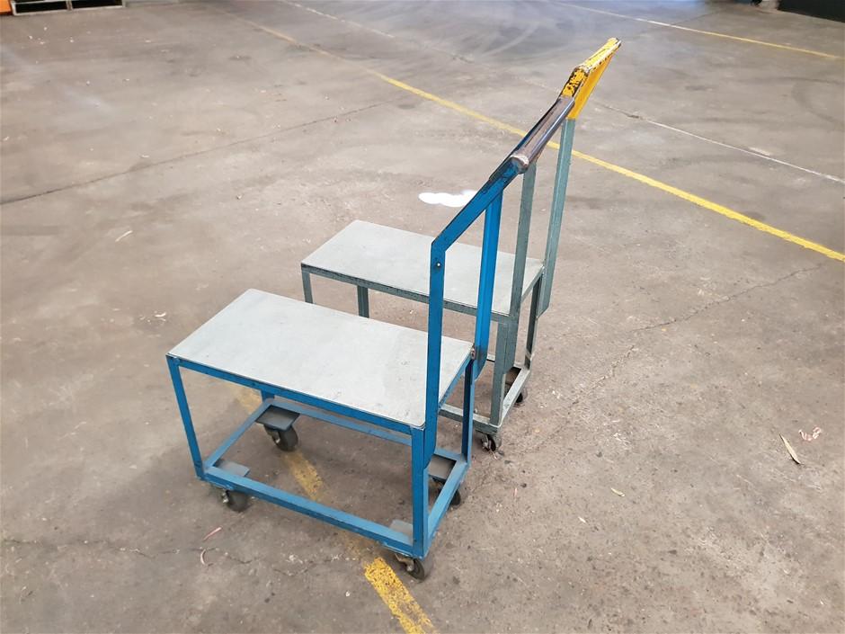Qty 2 Steel Trolleys on Roller wheels