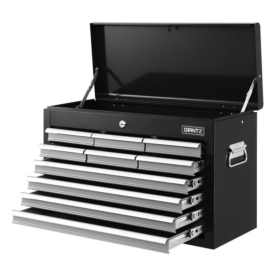 Giantz 10-Drawer Tool Box Chest Garage Storage Toolbox - Black & Silver