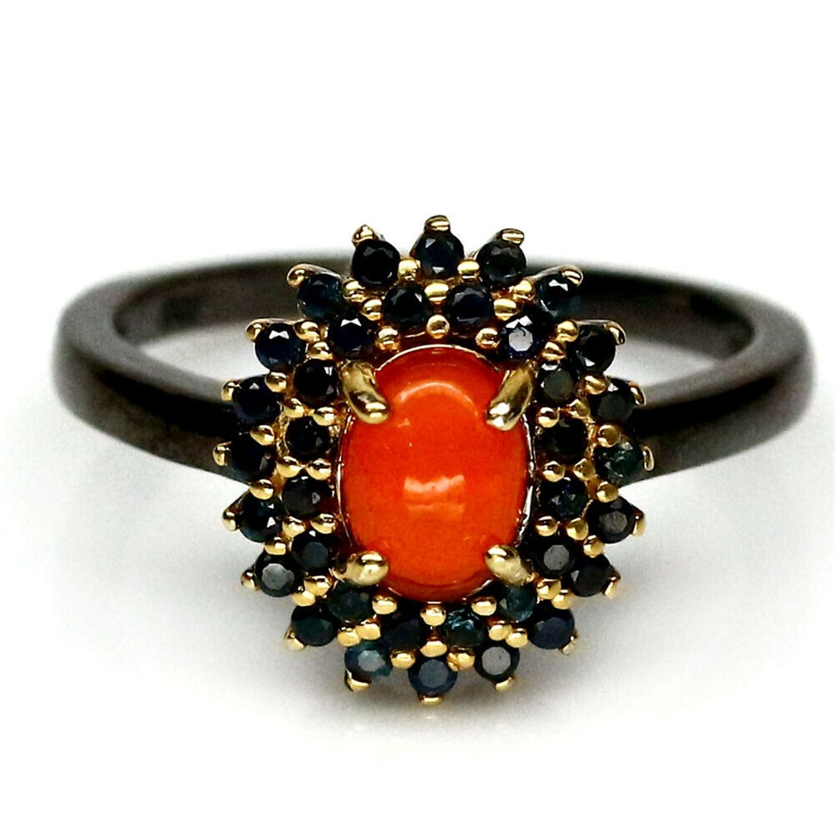 Gorgeous Fire Orange Opal & Sapphire Two Tone Ring Size 'N'