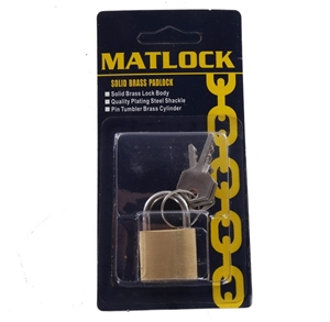 6 x MATLOCK Solid Brass Padlocks 30mm. (