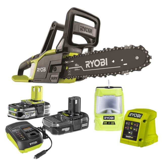 RYOBI Camping Combo Kit Comprising 18V Light Weight Chain Saw, 12V Car Char