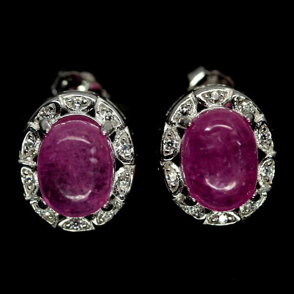 Genuine Pink Ruby Stud Earrings.