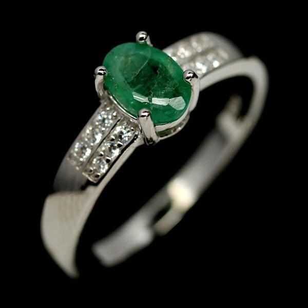 Genuine Emerald Solitaire Ring