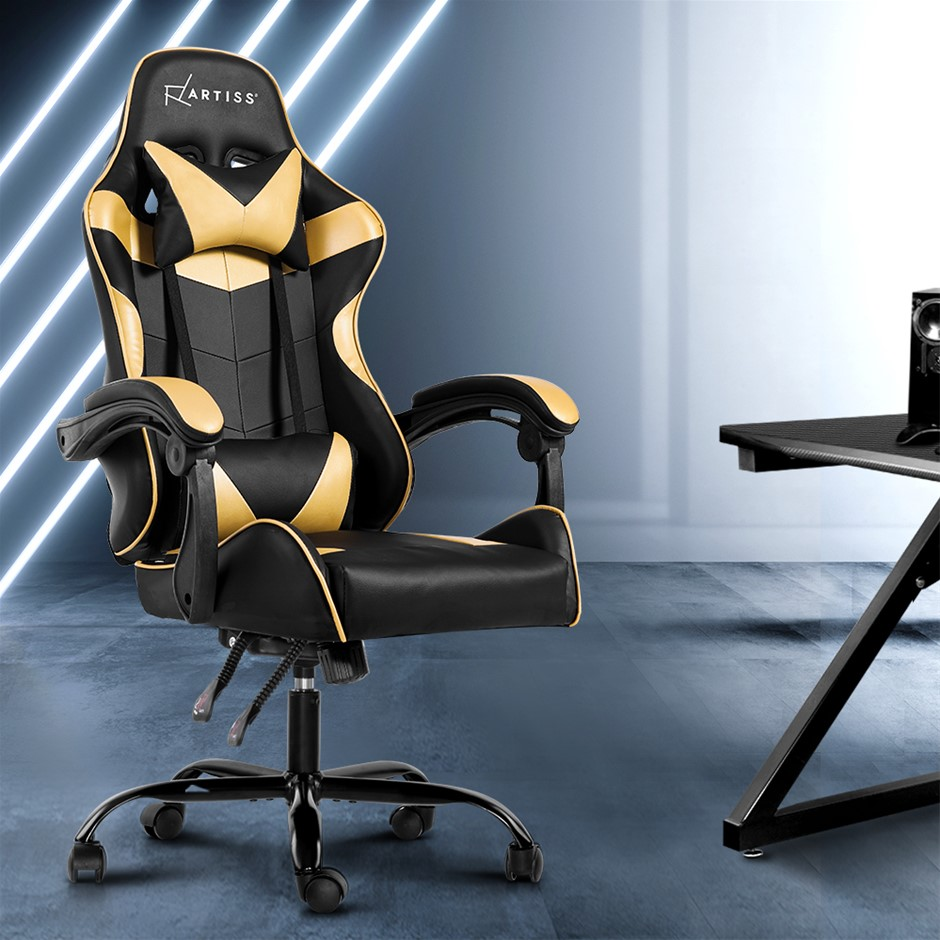Artiss Office Chair Gaming Chair Computer PU Leather Armrest Black Golden