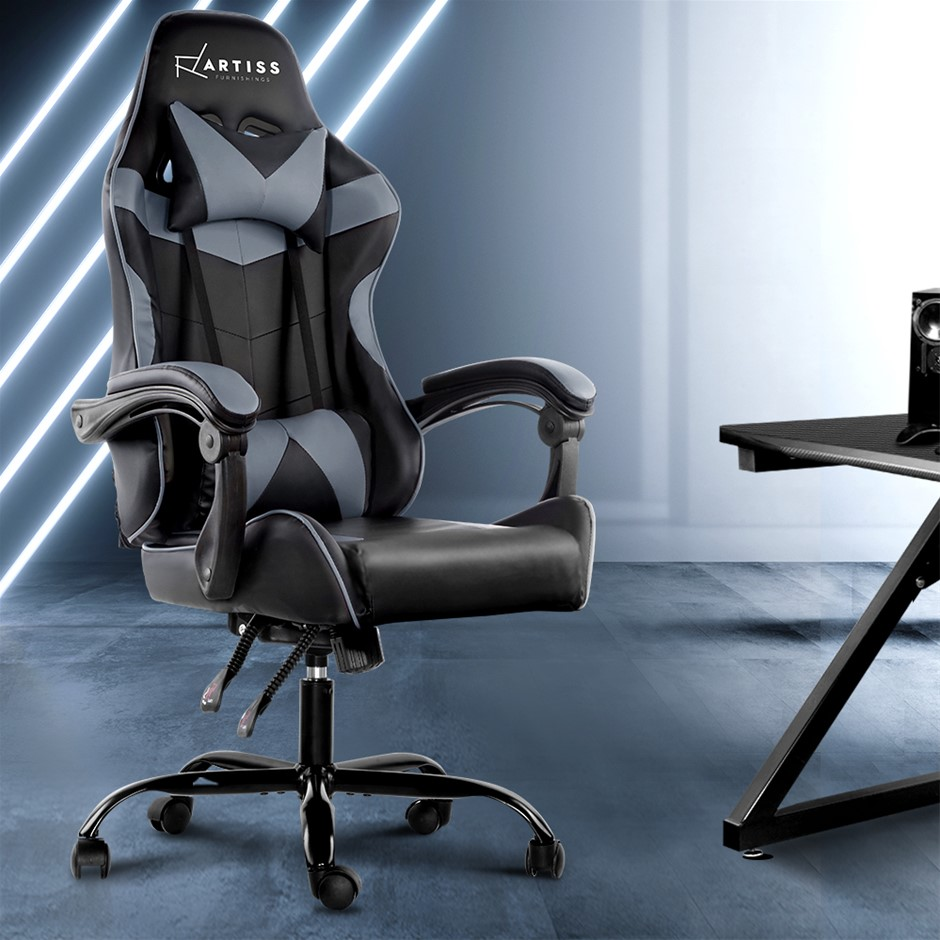 Artiss Office Chair Gaming Chair Computer PU Leather Seat Armrest BlackGrey