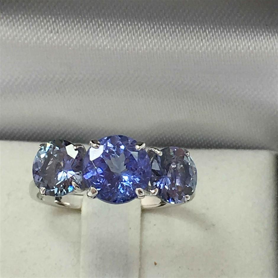 18ct White Gold, 3.96ct Tanzanite Ring