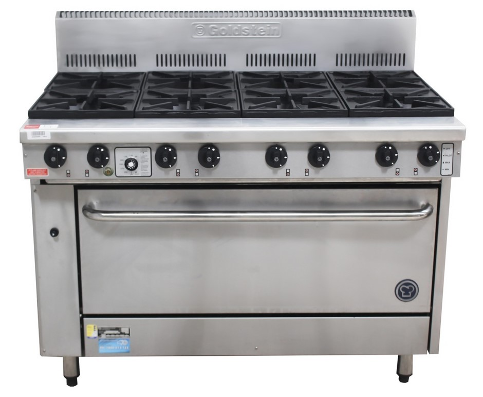 AS NEW GOLDSTEIN GAS 8 BURNER STOVE WITH OVEN CURRENT M