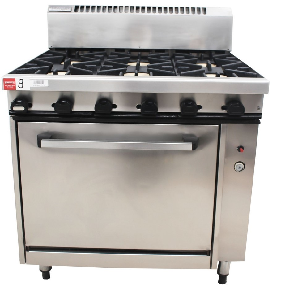 WALDORF GAS 6 BURNER STOVE WITH OVEN , QUALITY COMMERCIAL KITCHEN E