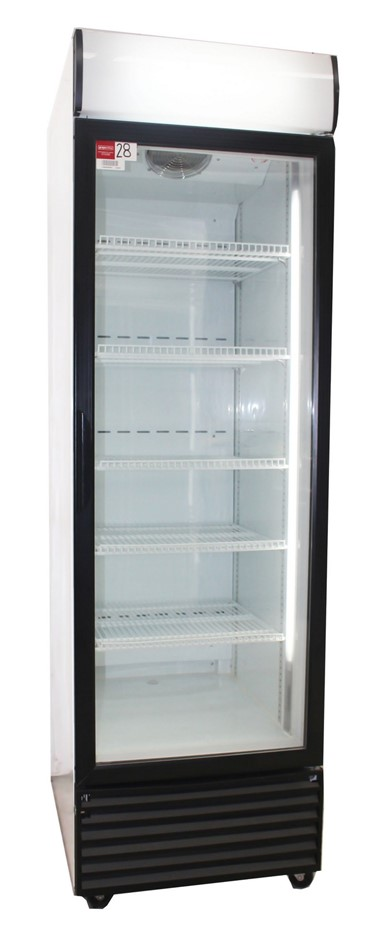 AS NEW UPRIGHT SINGLE GLASS DOOR DISPLAY FRIDGE, QUALITY COMMERCIAL
