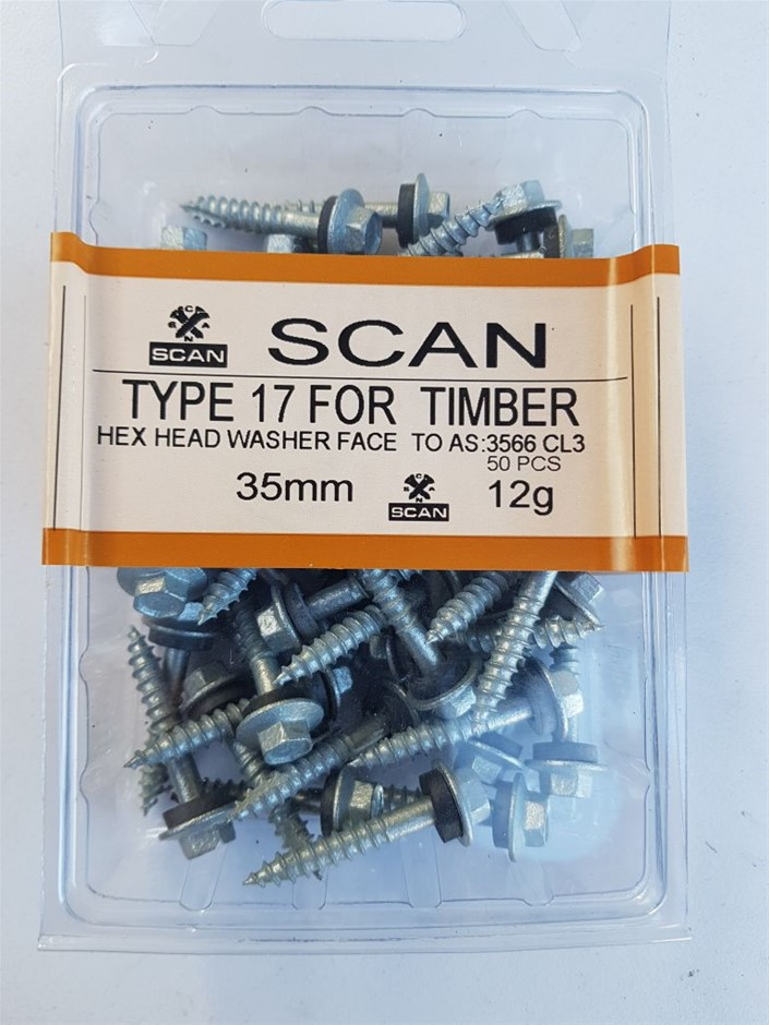 2 X Pack Hex screws for timber with sealing washer , size 35mm X 12g, conta