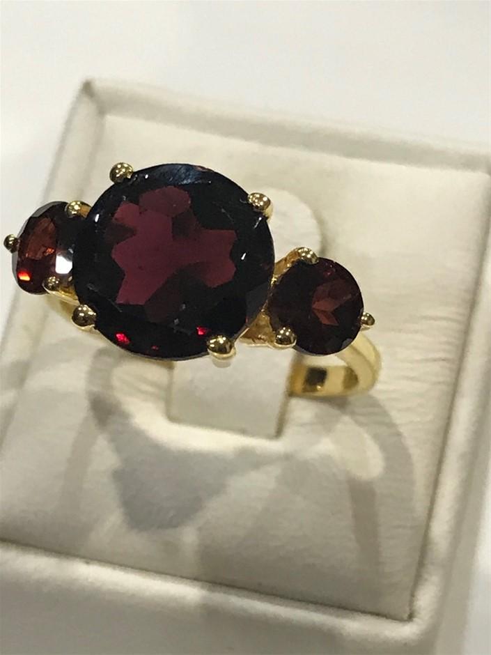 Stunning 6.75ct Garnet & 18K Gold Vermeil Size N 1/2 (7)