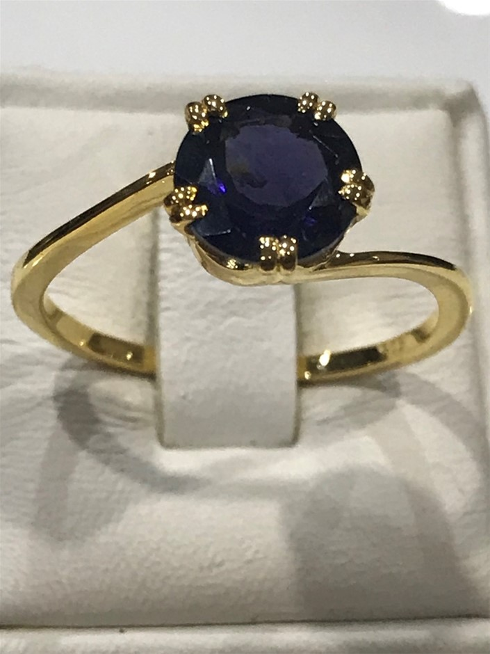 Brilliant 2.00ct Iolite & 18K Peridot Vermeil Ring. Size R 1/2 (9)