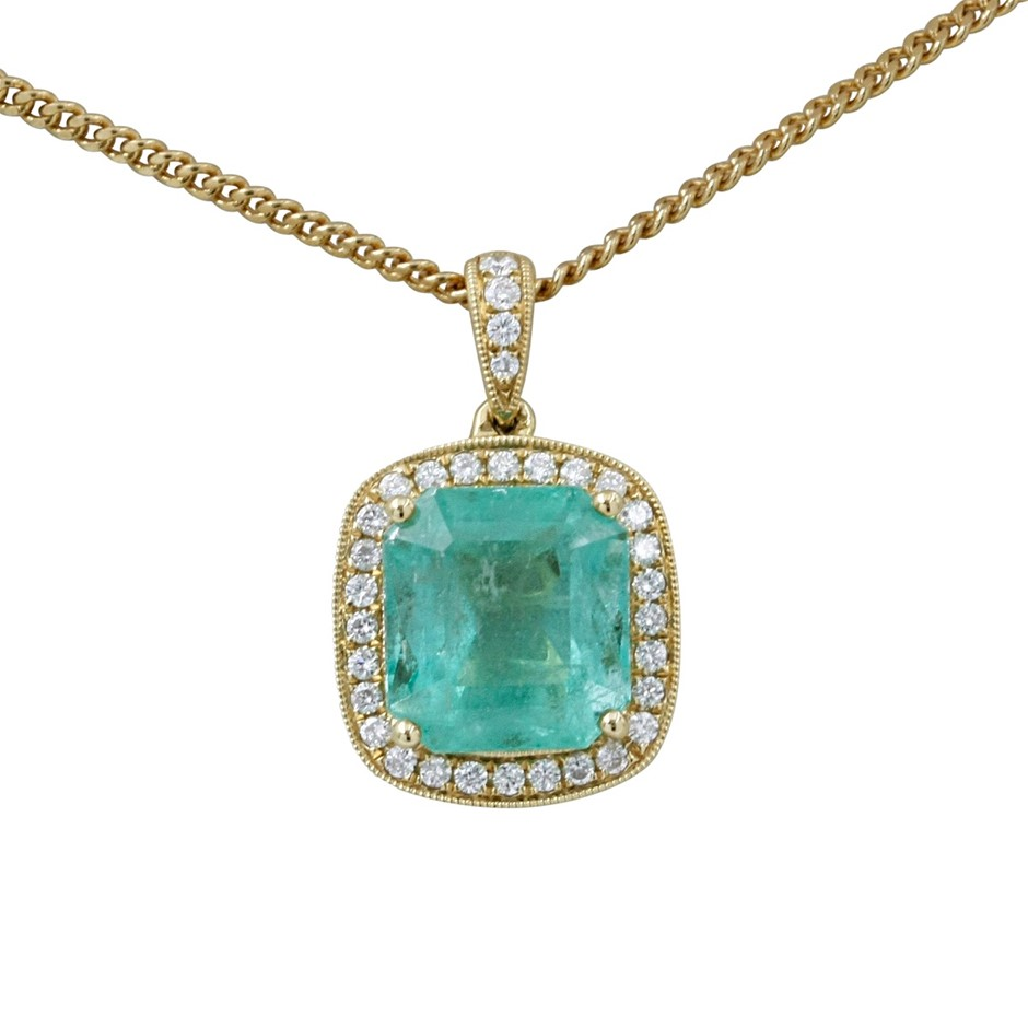 18ct Yellow Gold, 6.34ct Emerald and Diamond Pendant