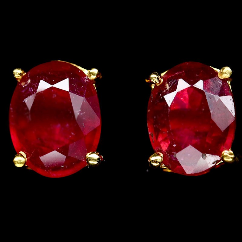 Striking Genuine Ruby Stud Earrings