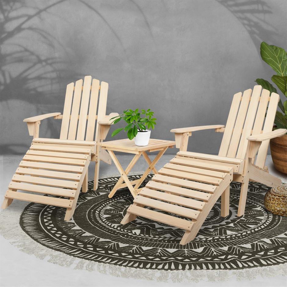 Gardeon Outdoor Chairs Table Set Sun Lounge Furniture Beach Chair Lounger