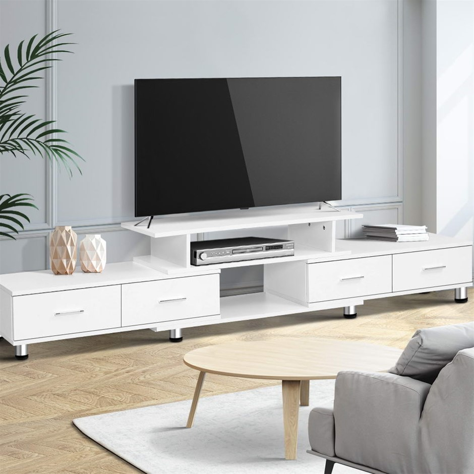 Artiss TV Cabinet Entertainment Unit Stand Wooden 160CM To 220CM White