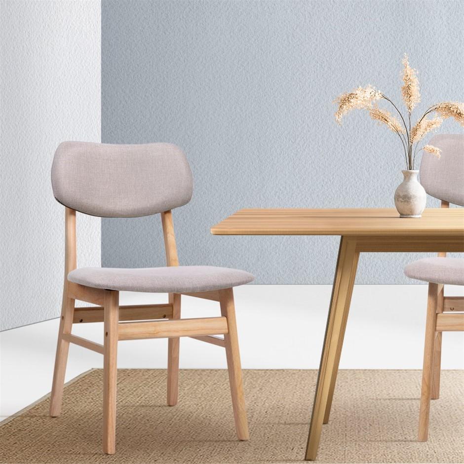 Artiss x2 Dining Chairs Retro Replica Kitchen Wood Chair Fabric Pad Beige