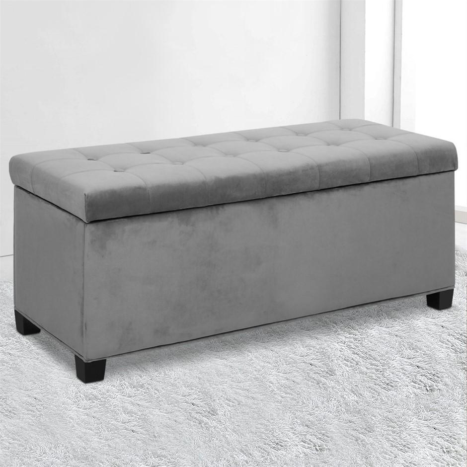 Artiss Storage Ottoman Blanket Box Velvet Foot Stool Couch Toy Grey