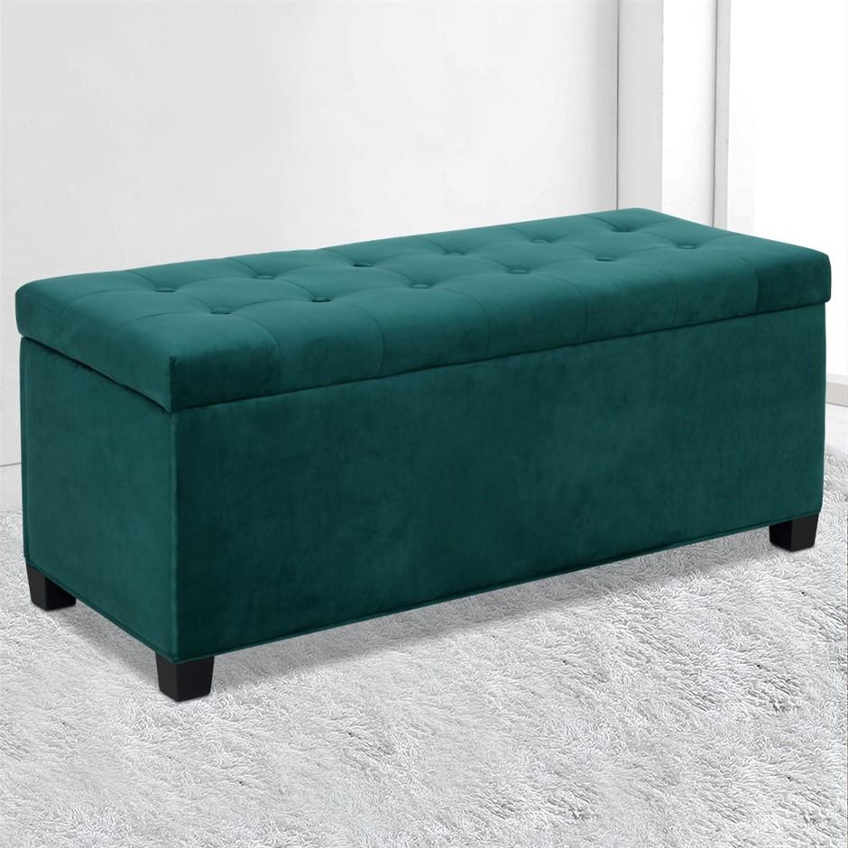 Artiss Storage Ottoman Blanket Box Velvet Foot Stool Couch Toy Green