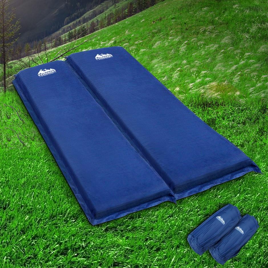 Weisshorn Self Inflating Mattress Camping Sleeping Mat Double Navy 10CM