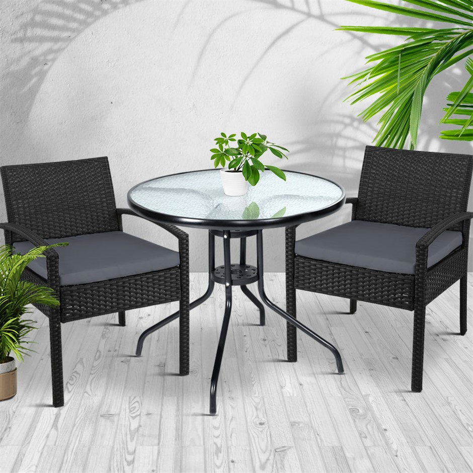 Gardeon Outdoor Furniture Dining Chairs Wicker Cushion Black 3PCS Sofa Set