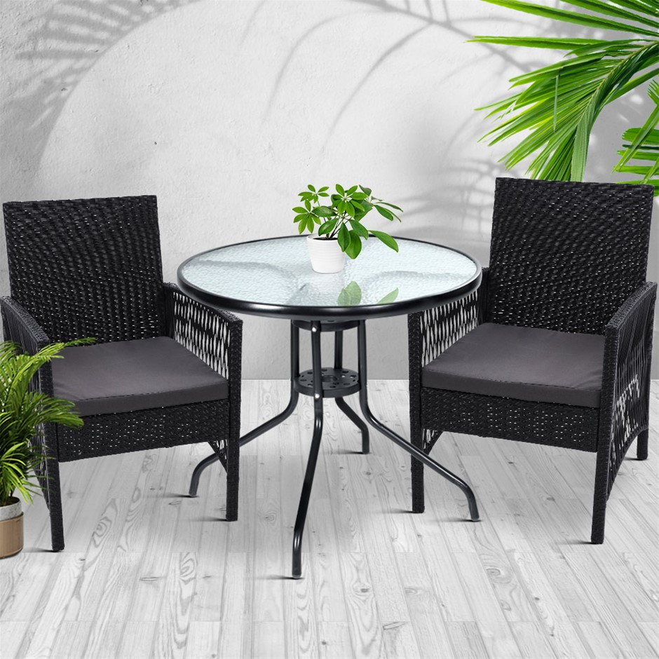 Gardeon Outdoor Furniture Dining Chairs Rattan Black 3PCS