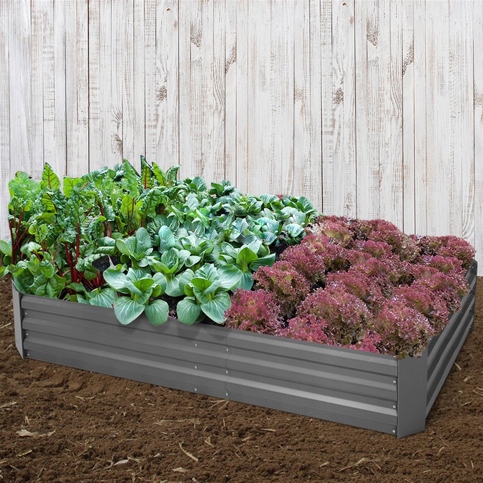 Greenfingers 180x90x30CM Galvanised Raised Garden Bed Steel Instant Planter