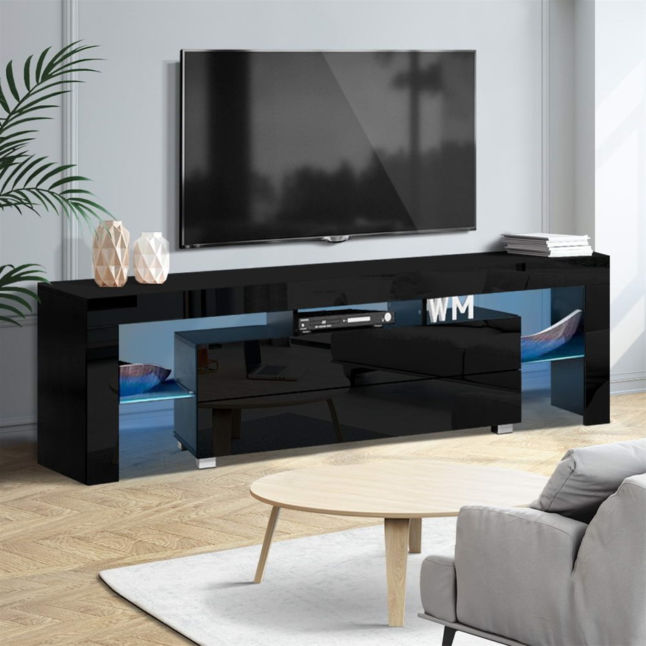 Artiss TV Cabinet Entertainment Unit Stand RGB LED Gloss 160cm Black