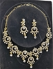 Gold Tone White Crystal Necklace/Earrings Set.