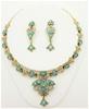 Gold Tone Aqua & White Crystal Necklace/Earring Set.