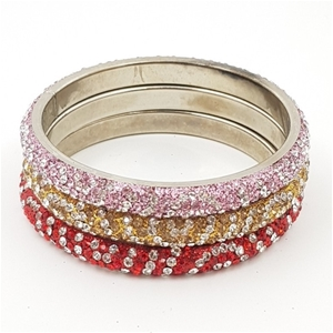 Red, Gold & Pink Crystal Bangles x 3.