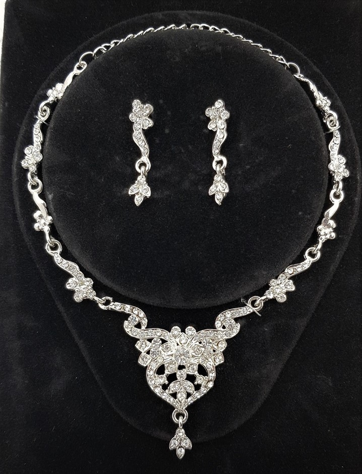 Silver & White Crystal Necklace/Earrings Set.