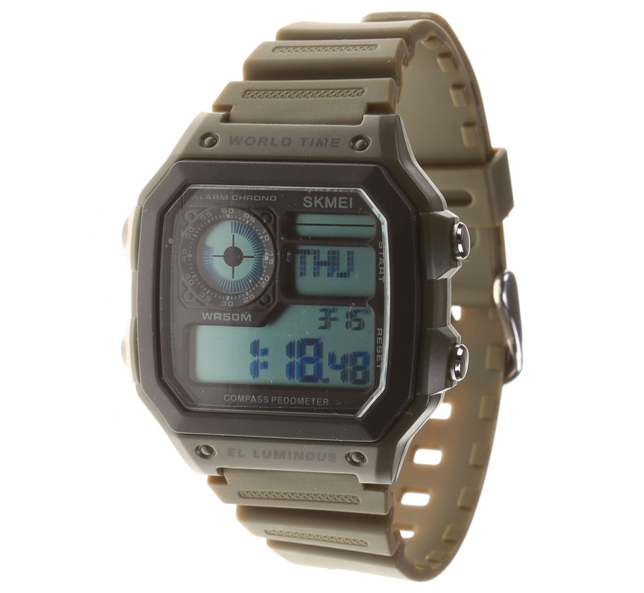 SKMEI Men`s Wrist Watch, Silicone Band, Features: Digital Compass, Step Cou