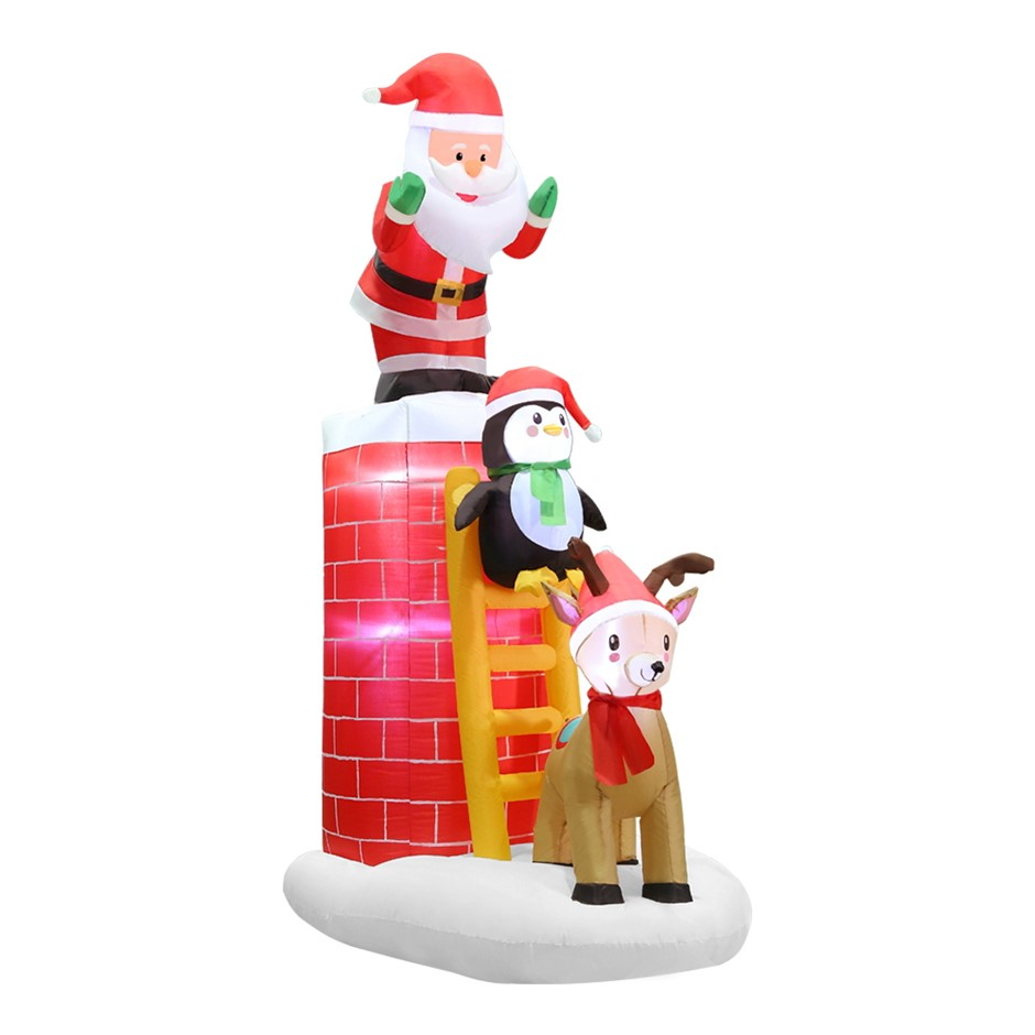 Jingle Jollys 2.4M Christmas Inflatable Santa on Chimney Outdoor LED