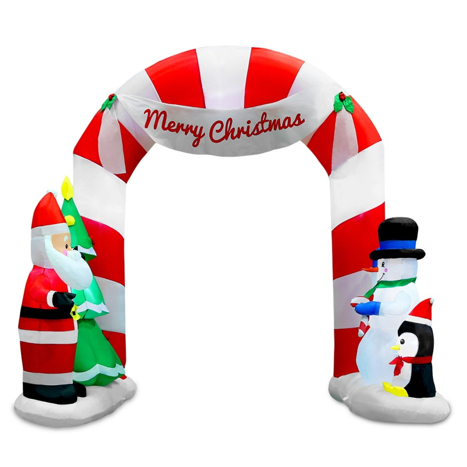 Jingle Jollys 1.8M Christmas Inflatable Archway with Santa Xmas Decor LED