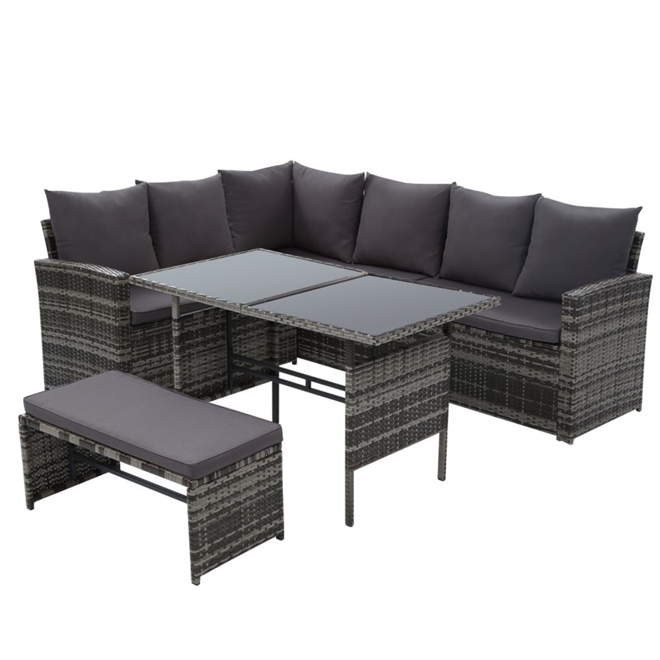 Gardeon Outdoor Furniture Sofa Set Dining Setting Wicker 8 Seater Mixed