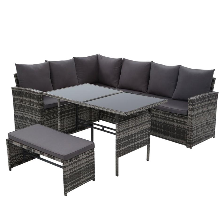 Gardeon Outdoor Furniture Sofa Set Dining Setting Wicker 8 Seater Mixed