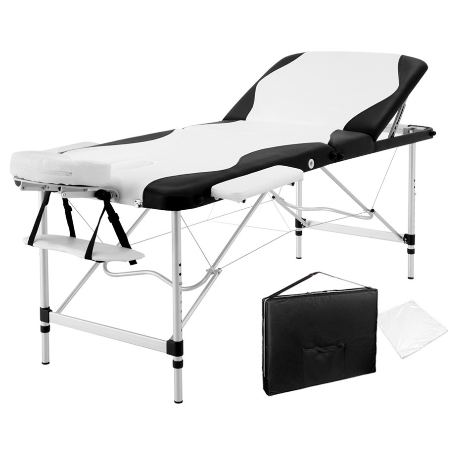 Zenses 3 Fold Portable Aluminium Massage Table - Black and White